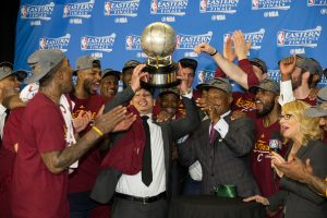 TORONTO, CANADA - MAY 27: The Cleveland Cavaliers celebrate after a victory in Game Six of the Eastern Conference Finals against the Toronto Raptors during the 2016 NBA Playoffs on May 27, 2016 at the Air Canada Centre in Toronto, Ontario, Canada. NOTE TO USER: User expressly acknowledges and agrees that, by downloading and or using this Photograph, user is consenting to the terms and conditions of the Getty Images License Agreement. Mandatory Copyright Notice: Copyright 2016 NBAE (Photo by Nathaniel S. Butler/NBAE via Getty Images)